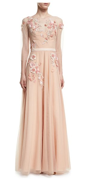 Notte by Marchesa 3/4-Sleeve Beaded Tulle Gown in blush - Marchesa Notte tulle evening gown with beaded...