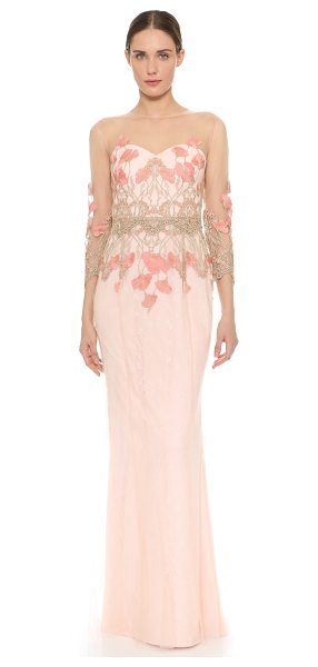 Notte by Marchesa 3/4 sleeve tulle gown in blush - Tonal lace peeks through the filmy tulle shell of this...