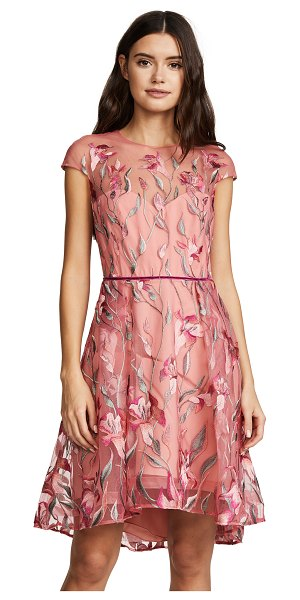 NOTTE BY MARCHESA cap sleeve cocktail dress - Fabric: Embroidered mesh Sheer yoke Floral embroidery...