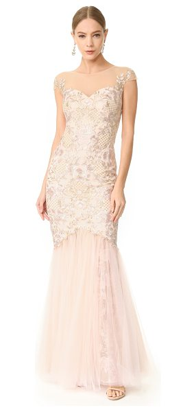 Notte by Marchesa cap sleeve gown in blush - Floral embroidery brings timeless, feminine style to...