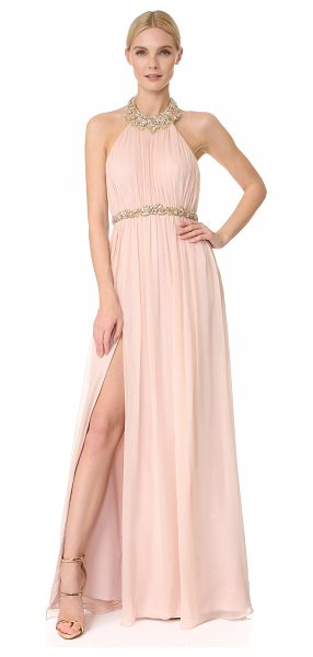 Notte by Marchesa chiffon halter gown in blush - Speckled material peeks through filmy silk on this...
