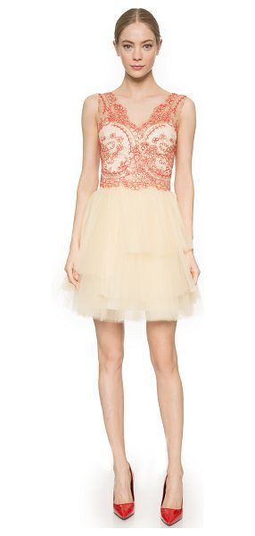 Notte by Marchesa Corded lace cocktail dress in nude - Layers of delicate, pleated tulle lend volume to the...