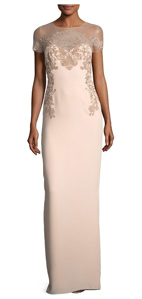 Notte by Marchesa Crepe Evening Gown w/ Illusion & Embroidery in blush - Marchesa Notte crepe evening gown with metallic...