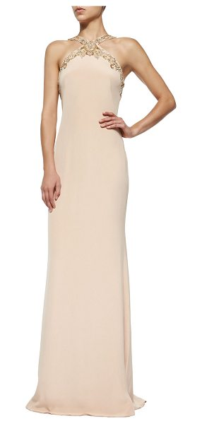 Notte by Marchesa Embellished halter column gown in nude - Marchesa Notte silky evening gown with elaborately...