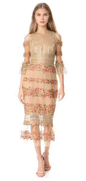 Notte by Marchesa embroidered cocktail dress in gold - A shoulder-baring Marchesa Notte dress with a contoured...