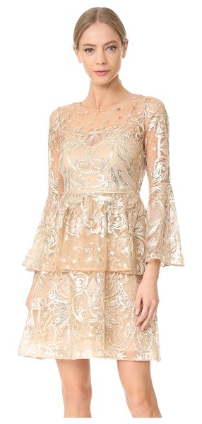 Notte by Marchesa embroidered cocktail dress in champagne - Metallic threads and mirrored sequins bring glamorous...