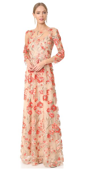 Notte by Marchesa embroidered gown with lace slip in coral - Metallic threads accent the saturated floral embroidery...