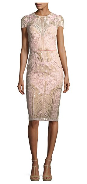 Notte by Marchesa Embroidered Lace Cap-Sleeve Sheath Cocktail Dress in blush - Marchesa Notte embroidered lace cocktail dress with...