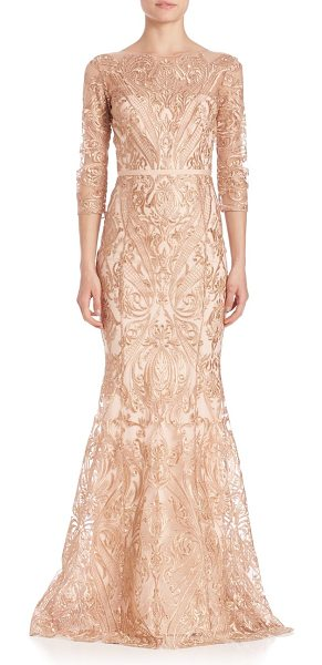 Notte by Marchesa embroidered overlay gown in blush - Full embroidery accentuates this evening-ready...