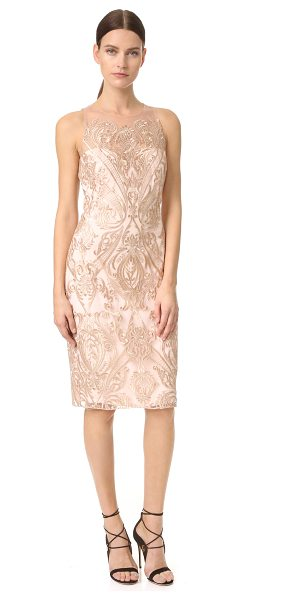 Notte by Marchesa Embroidered Sheath Dress in blush - Shimmering embroidery covers this elegant Marchesa Notte...