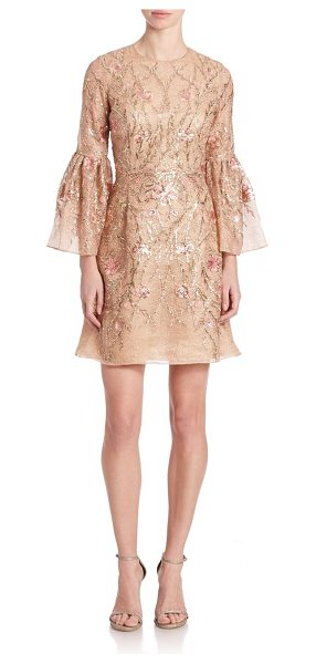 Marchesa Embroidered trumpet-sleeve cocktail dress in nude - Trumpet-sleeve dress with lustrous floral...