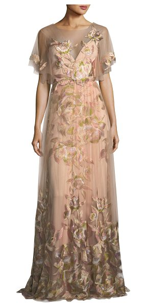 Notte by Marchesa Embroidered Tulle Flutter Sleeve Evening Gown in blush - Marches Notte evening gown in embroidered tulle. Round...