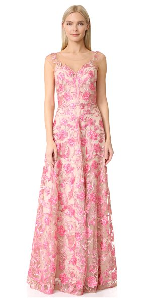Notte by Marchesa floral embroidered gown in pink