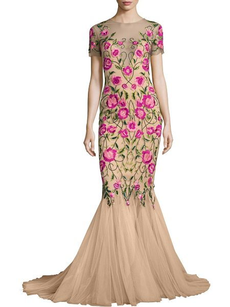 Notte by Marchesa floral embroidered mermaid gown in nude - Floral embroidered mermaid gown with flared hem....