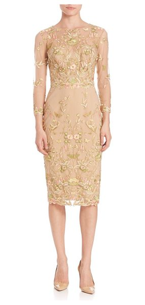 Notte by Marchesa floral embroidered sheath dress in nude - Alluring sheath dress with eye-catching embroidery....