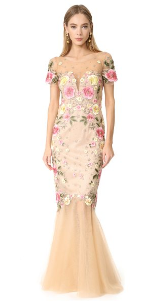 Notte by Marchesa floral embroidery gown in nude - This glamorous Marchesa Notte gown is composed of filmy...