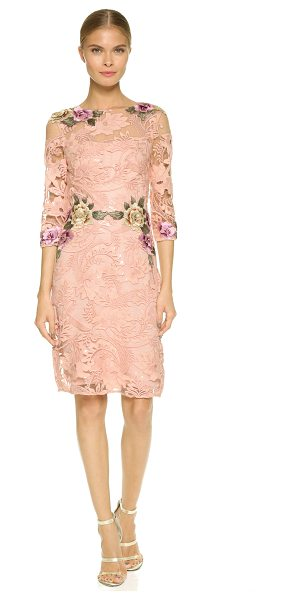 Notte by Marchesa Floral threadwork cocktail dress in pale coral - Embroidered floral appliqués accentuate the romantic...