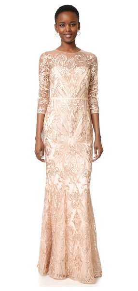 Notte by Marchesa Marchesa Notte Fully Embroidered Fit And Flare Gown in blush - Tonal embroidery creates a shimmering, ornate design...
