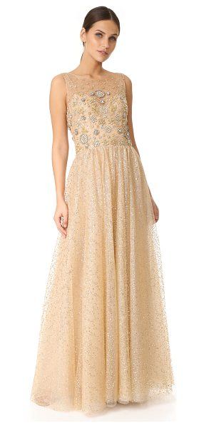 Notte by Marchesa glitter tulle ball gown in gold
