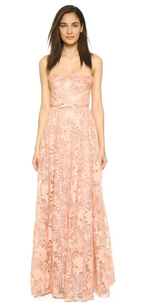 NOTTE BY MARCHESA Lace strapless gown with belt - A romantic lace Marchesa Notte gown with a vintage...