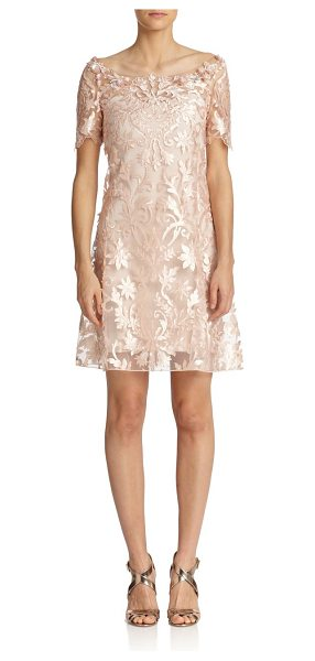 Notte by Marchesa Laser-cut floral shift in blush - Intricate laser-cut florals bloom throughout this...