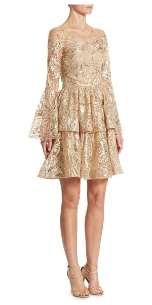 Notte by Marchesa metallic embroidered bell sleeve dress in champagne - Shimmering embroidered dress in celestial motif....