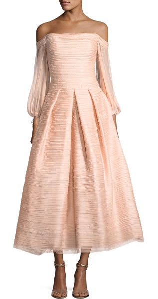NOTTE BY MARCHESA Off-the-Shoulder Crinkled Chiffon Tea-Length Cocktail Gown - EXCLUSIVELY AT NEIMAN MARCUS Marchesa Notte crinkled...