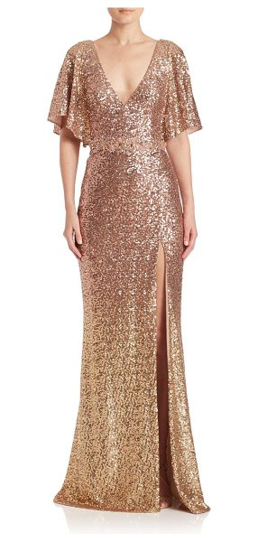 Notte by Marchesa sequin embellished gown in blush - Allover sequins lend a polished finish to this gown....