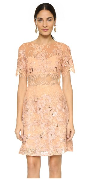 Notte by Marchesa Short sleeve dress in pale coral - Feathered eyelash edges lend a delicate feel to this...