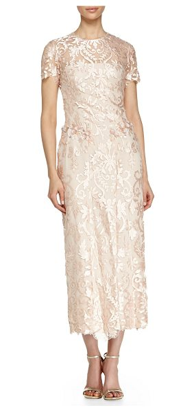 Notte by Marchesa Short-sleeve floral midi gown in blush - Notte by Marchesa floral gown with sheer front yoke,...
