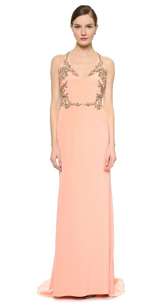 Notte by Marchesa Silk crepe halter gown in coral - Elaborate beading brings baroque style to a lustrous...