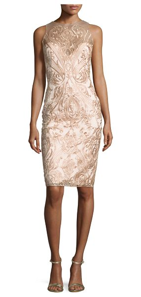 Notte by Marchesa Sleeveless Embroidered Illusion Cocktail Dress in blush - Marchesa Notte cocktail dress in tulle with scroll...