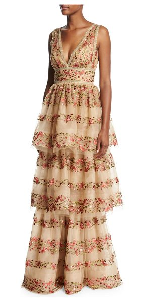 NOTTE BY MARCHESA Sleeveless Floral-Embroidered V-Neck Gown - EXCLUSIVELY AT NEIMAN MARCUS Marchesa Notte...