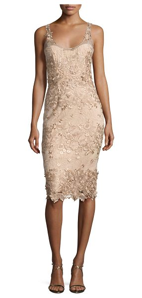 Notte by Marchesa Sleeveless Metallic Floral Sheath Dress in nude - Marchesa Notte mesh cocktail dress with metallic floral...