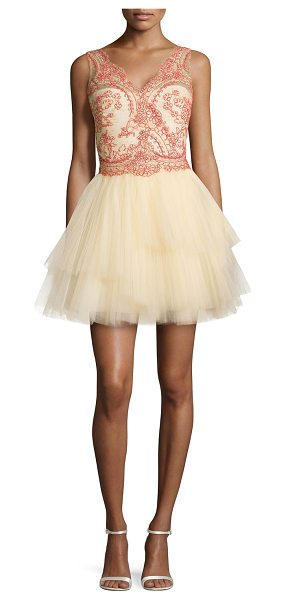 Notte by Marchesa Sleeveless tiered tulle skirt cocktail dress in nude - Notte by Marchesa cocktail dress in tulle; embroidered...