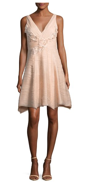 Notte by Marchesa Sleeveless V-Neck Crinkled Chiffon Cocktail Dress in blush - EXCLUSIVELY AT NEIMAN MARCUS Marchesa Notte crinkled...