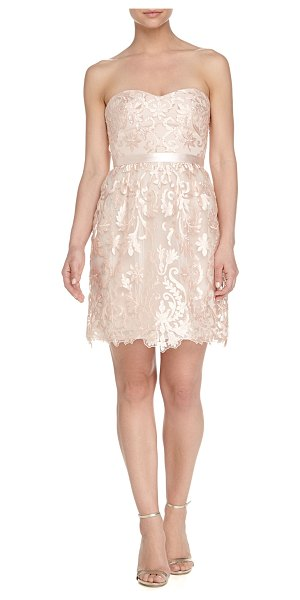 Notte by Marchesa Strapless belted floral-lace cocktail dress in blush