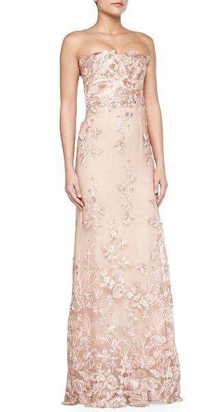 Notte by Marchesa Strapless floral applique gown in blush - Notte by Marchesa evening gown in chiffon with floral...