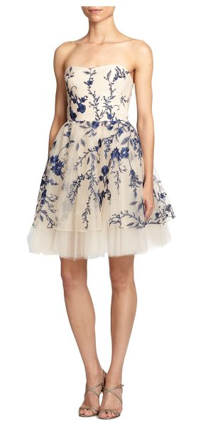 NOTTE BY MARCHESA Strapless floral-embroidered cocktail dress - Sweet floral embroidery perfectly complements the...