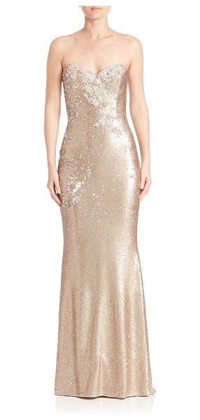 NOTTE BY MARCHESA strapless sequined long gown - Sequined sheath gown with floral embroidery on bodice....