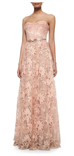Notte by Marchesa Strapless sweetheart belted lace full gown in pale coral