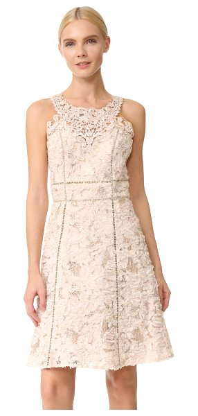 Notte by Marchesa textured cocktail dress in blush - Frayed chiffon and metallic embroidery lend vintage...