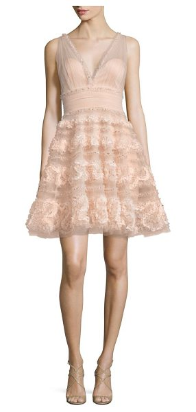 Notte by Marchesa textured tulle a-line dress in blush - Ethereal tulle dress outlined in glittering sequins....