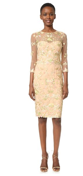 Notte by Marchesa Threadwork Embroidered Cocktail in nude - Metallic threads lend a delicate shimmer throughout this...