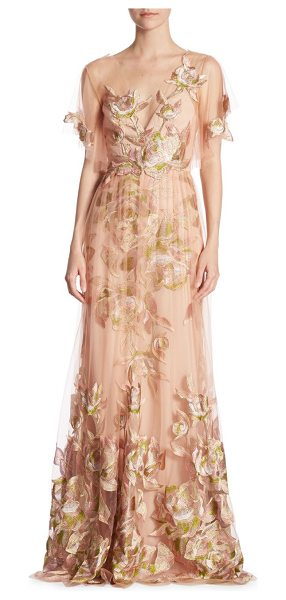 Notte by Marchesa flutter floral gown in blush - Floor-length dress featuring embroidered details.V-neck....