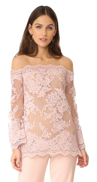 Marchesa off shoulder top in blush - An elegant Marchesa top made from corded lace. Sheer,...
