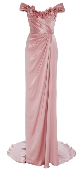 MARCHESA Off the Shoulder Satin Gown - This *Marchesa* gown features an off the shoulder...
