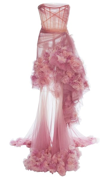 Marchesa Ombre Tiered Gown in pink