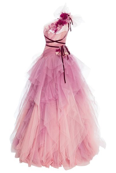 Marchesa Ombre Tulle Gown in pink - This *Marchesa* gown features a draped one shoulder...