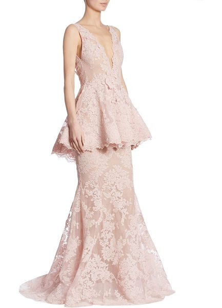 Marchesa peplum lace gown in blush - Sleeveless peplum gown in elegant floral lace. Deep...
